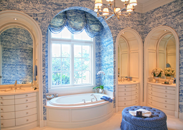 Toile Wallpaper Bathroom Victorian with Archway Balloon Shades Baseboards1