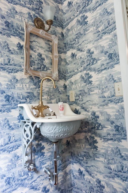 Toile Wallpaper Bathroom Victorian with Bathroom Blue and White