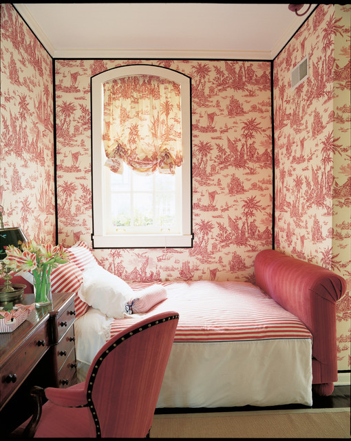 Toile Wallpaper Bedroom Traditional with Bedroom Black Trim Bolster