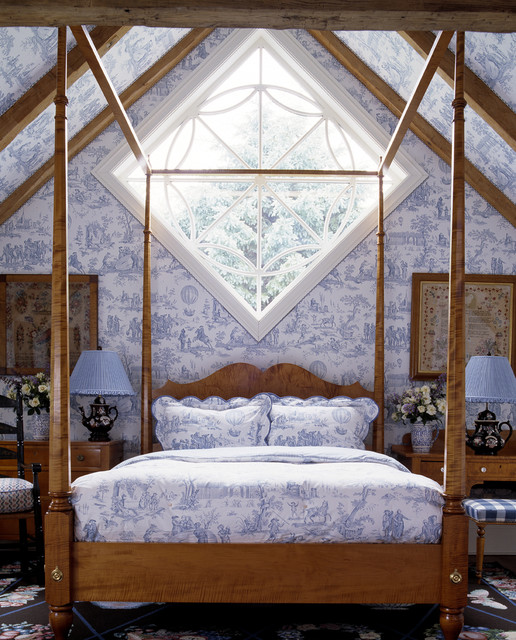 Toile Wallpaper Bedroom Traditional with Canopy Bed Dark Stained