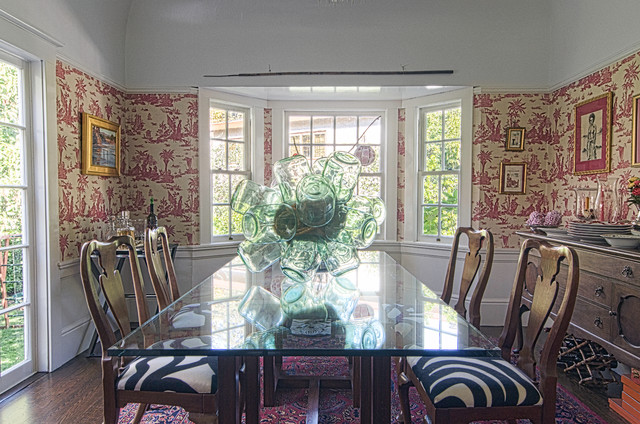 Toile Wallpaper Dining Room Eclectic with Bar Tray Table Bay