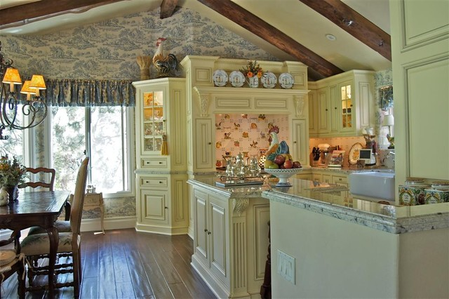 Toile Wallpaper Kitchen Traditional with Country Eat in Kitchen