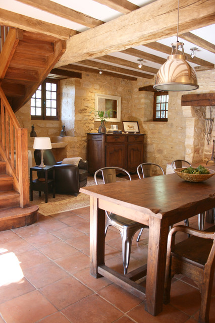 Tolix Chair Dining Room Rustic with Cottage Exposed Beams Farmhouse