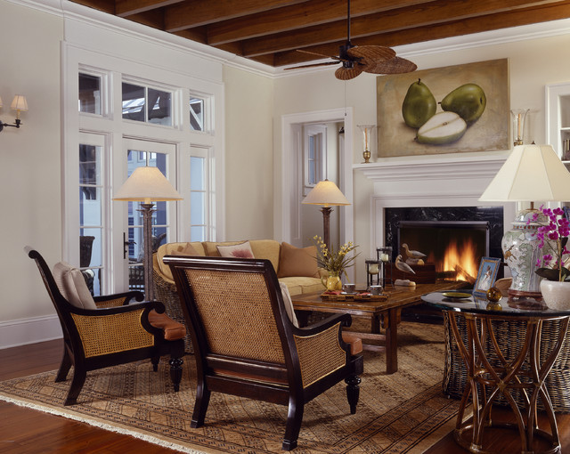Tommy Bahama Furniture Living Room Tropical with Area Rug Art Beams
