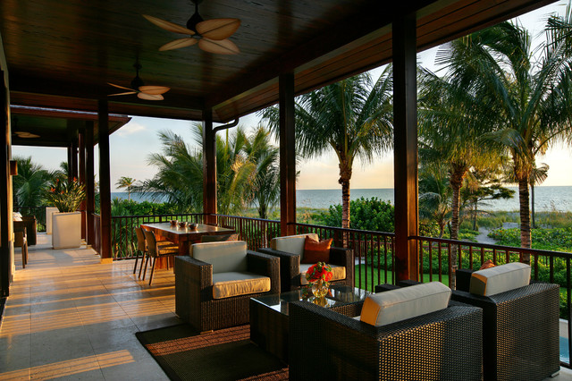 Tommy Bahama Furniture Porch Tropical with Ceiling Fan Coast Neutral