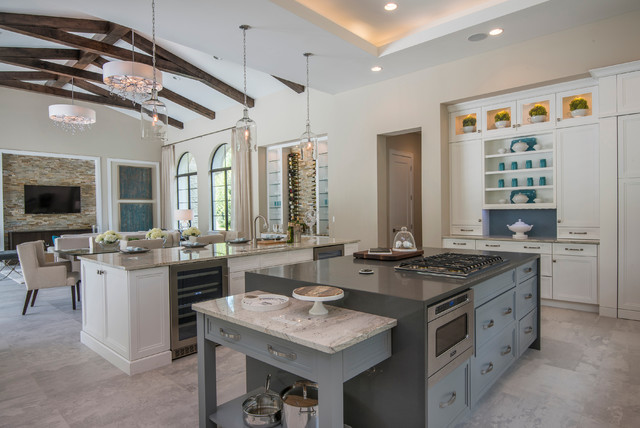 Topknobs Kitchen Mediterranean with Cathedral Ceiling Clerestory Cabinets