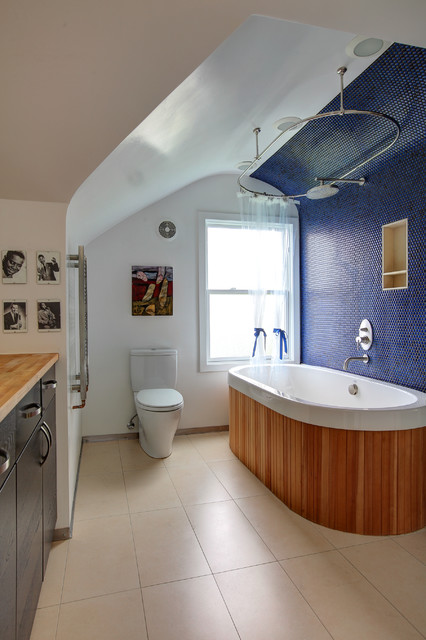 Toto Aquia Bathroom Eclectic with Arch Ceiling Bathtub Blue