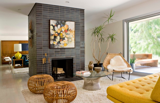 Toto Aquia Living Room Midcentury with Gray Tile Indoor Plants