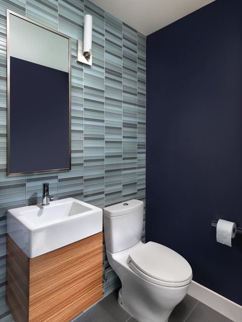Toto Aquia Powder Room Contemporary with Blue Floating Cabinet Glass