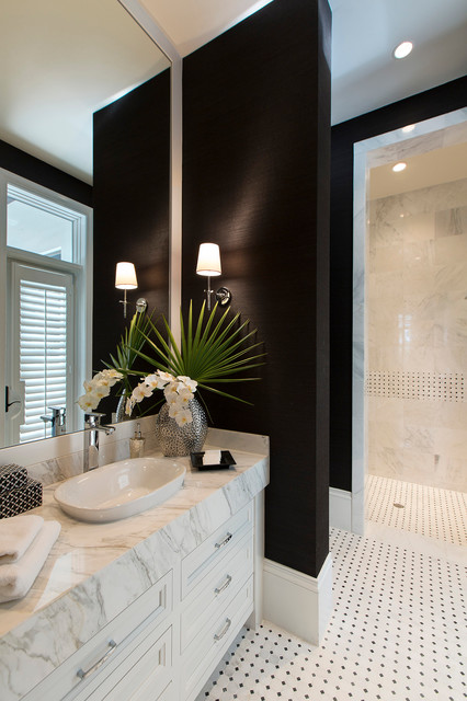 Toto Sinks Bathroom Transitional with Black and White Floor