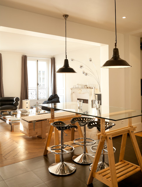 Tractor Seat Stool Dining Room Contemporary with Appartement Black Pendant Lights