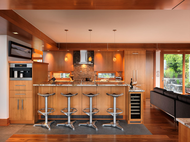 Tractor Seat Stool Kitchen Contemporary with Ceiling Lighting Cove Lighting
