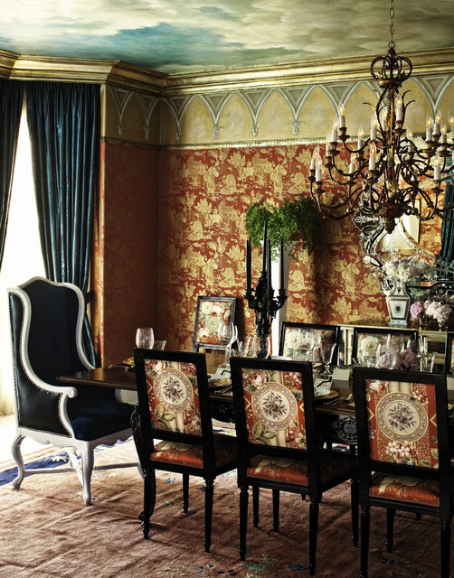 Traverse Curtain Rods Dining Room Eclectic with Chinoiserie Crown Molding Curtains