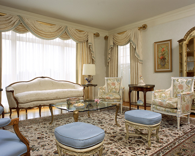 Traverse Curtain Rods Living Room Traditional with Antique Furniture Blue Bergere