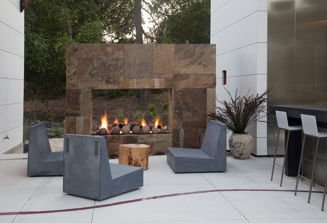 Tree Stump Table Patio Contemporary with Cementitious Panels Concrete Deck