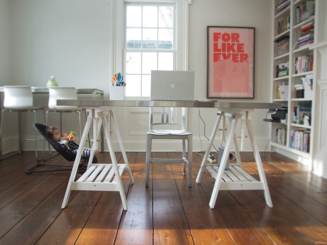 Trestle Desk Home Office Eclectic with Bookcase Bookshelves Built In