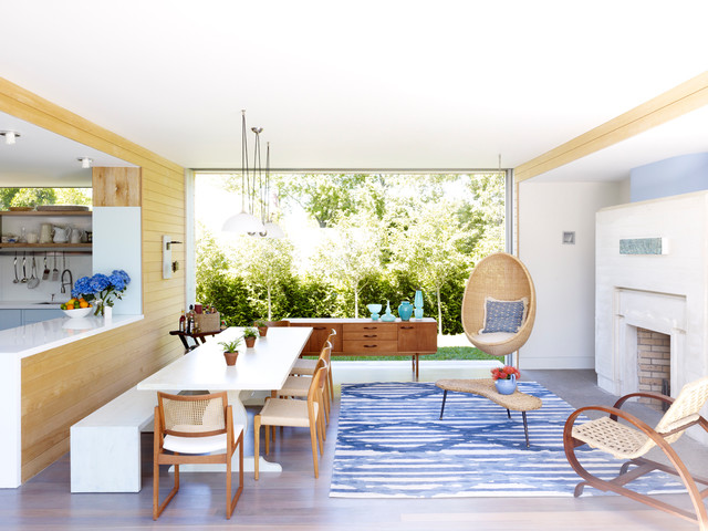 trestle dining table Dining Room Contemporary with blue and white living