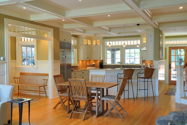 Trestle Dining Table Kitchen Traditional with Beadboard Wainscoting Coffered Ceiling