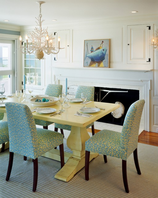 Trestle Table Dining Room Beach with Aqua Coastal Coral Chandelier
