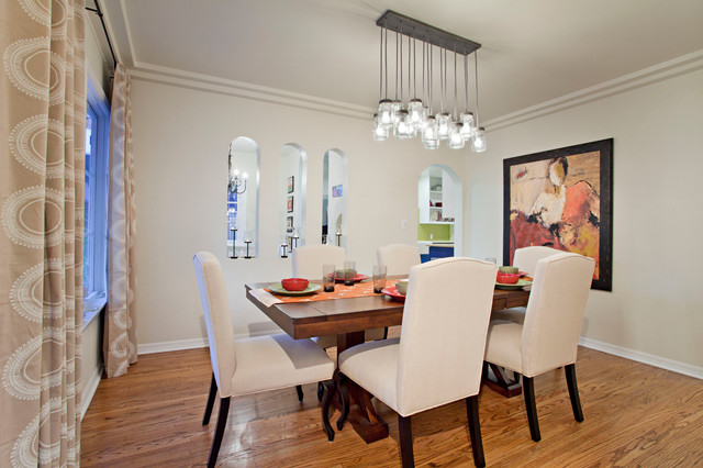 Trestle Table Dining Room Contemporary with Arched Wall Openings Artwork