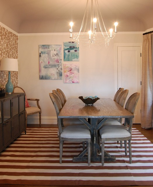 Trestle Table Dining Room Eclectic with Area Rug Baseboards Chandelier
