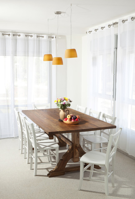 Trestle Table Dining Room Rustic with Curtains Drapes Fruit Bowl