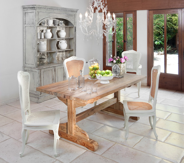 Trestle Table Dining Room Shabby Chic with Cabinet Chandelier Farmhouse Table