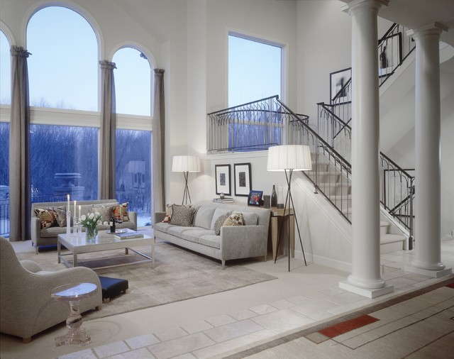 Tripod Floor Lamp Family Room Transitional with Arched Windows Area Rug