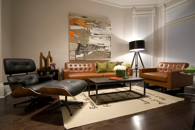 tripod floor lamp Living Room Contemporary with area rug beige walls