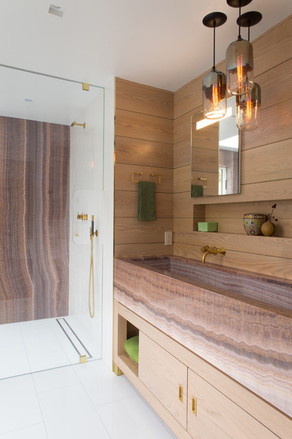 Trough Sink Bathroom Contemporary with Bleached Oak Glass Low