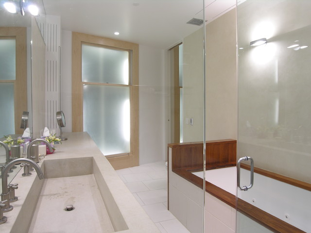 trough sink Bathroom Modern with double sinks integrated sink