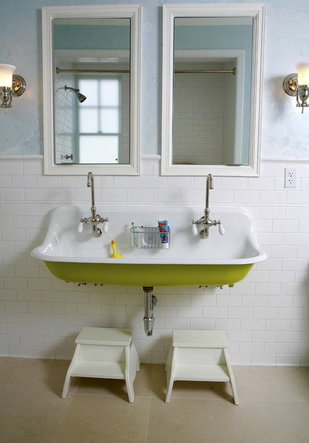 Trough Sink Bathroom Bathroom Traditional with Double Faucet Framed Mirrors