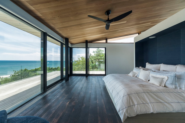 Trundle Daybed Bedroom Contemporary with Accent Wall Balcony Beach