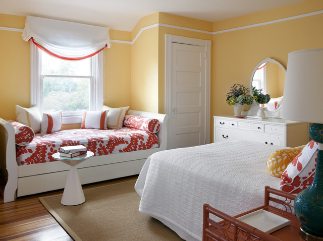 trundle daybed Bedroom Transitional with coral day bed girl's