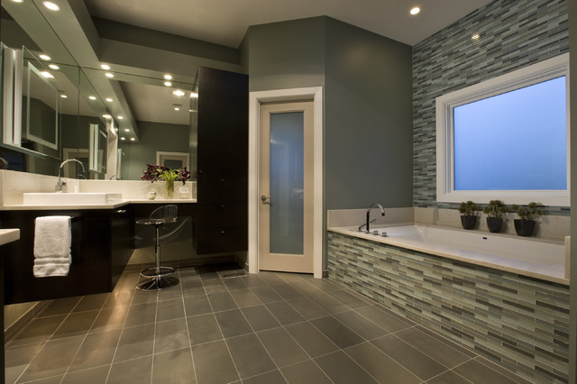 Trustile Doors Bathroom Contemporary with Bathroom Tile Ceiling Lighting
