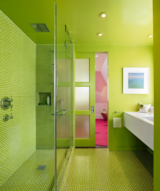 Trustile Doors Bathroom Modern with Bold Bold Color Bright
