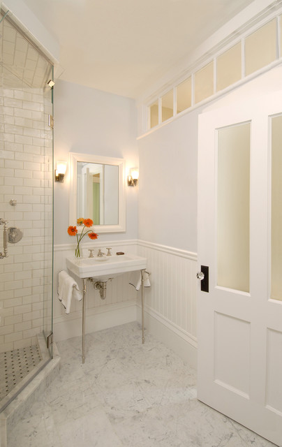 Trustile Doors Bathroom Traditional with Beadboard Console Sink Frameless