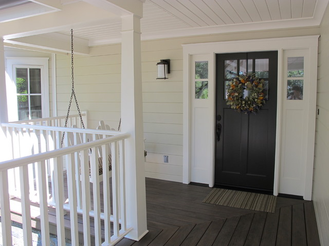 trustile doors Porch Farmhouse with bench swing black entry