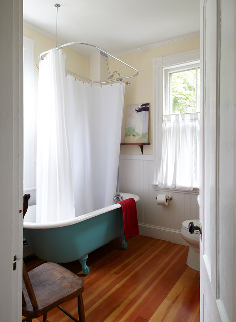 Tub to Shower Conversion Bathroom Beach with Antique Wood Chair Beadboard