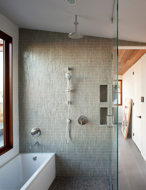 Tub to Shower Conversion Bathroom Contemporary with Architectural Windows Ceiling Mount