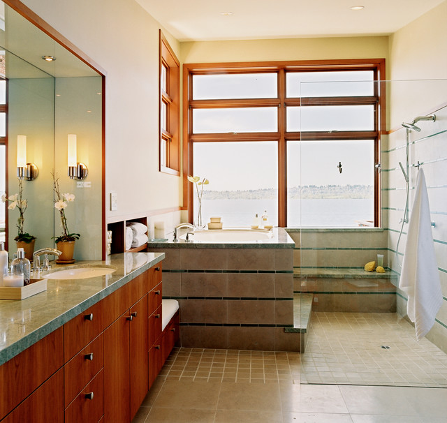 Tub to Shower Conversion Bathroom Contemporary with Clear Glass Shower Curbless