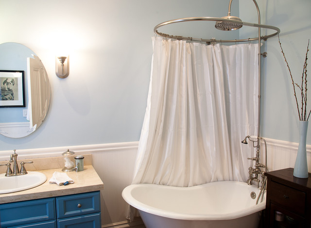 Tub to Shower Conversion Bathroom Eclectic with Bath Blue Blue Paint