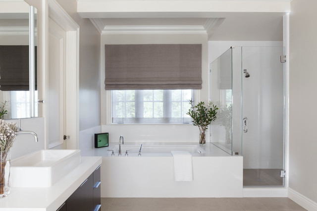 tub to shower conversion Bathroom Transitional with crown molding Interior Design