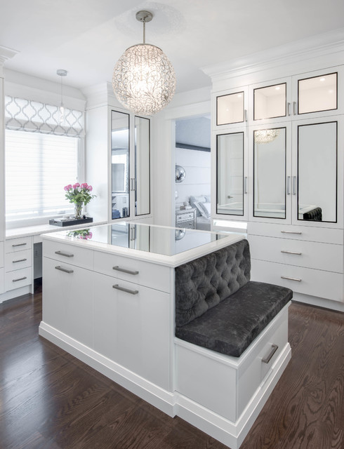 Tufted Bench Closet Traditional with Glam Gray Grey Island
