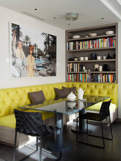 Tufted Bench Dining Room Contemporary with Banquette Bookcase Bookshelves Breakfast