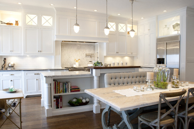 Tufted Bench Kitchen Traditional with Candleholder Carrera Marble Marble
