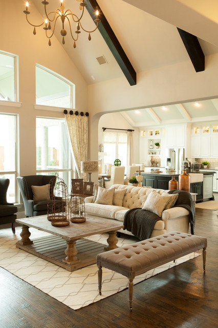 tufted bench Living Room Traditional with beige sofa cathedral ceiling