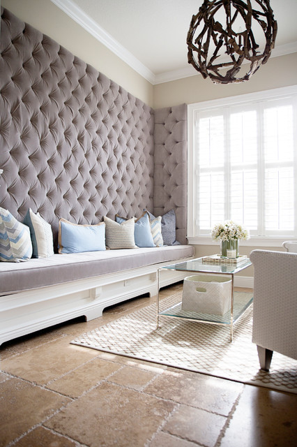 Tufted Bench Living Room Transitional with Beige Wall Built in Bench