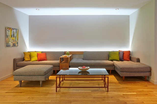 tufted couch Living Room Contemporary with bright pillows cove lighting