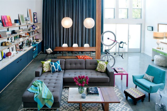 tufted couch Living Room Eclectic with bicycle blue chair blue
